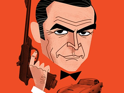 007 james bond caricature portrait cartoon fanart diego riselli wacom cintiq adobe creative cloud adobe illustrator spymovie cult actor retro midcenturymodern vector 007 movie movie sean connery 007