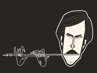 Ron Burgundy piedimonte matese diego riselli san diego midcentury wacom cintiq adobe creative cloud adobe illustrator vector brushes retrosupply illustration vector illustration vector funnyordie fanart will ferrell caricature will ferrell anchorman aqualung flute