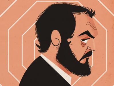 Stanley Kubrick diego riselli wacom cintiq adobe creative cloud adobe illustrator caricature portrait illustration master clockwork orange shining vector director stanley kubrick