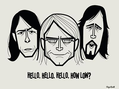 Nirvana adobe creative cloud diego riselli cartoon 90s grunge vector caricatures tribute fan art krist novoselic kurt cobain dave grohl nirvana