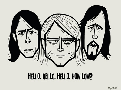 Nirvana adobe creative cloud diego riselli cartoon 90s grunge vector caricatures tribute fan art krist novoselic kurt cobain dave grohl nirvana