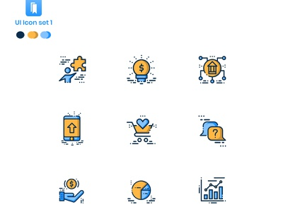 UI Iconography-With filled outline and glyphs icons presentation business iconset complex oldschool icon design iconography best design ui ui  ux