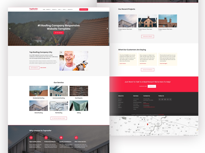 roofing company website design by easetemplate dribbble