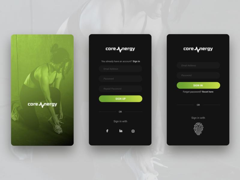 Corenergy - Sign in fitness app dailyui 001