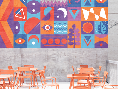 Mocked up mural pattern design modular bright mural illustration pattern