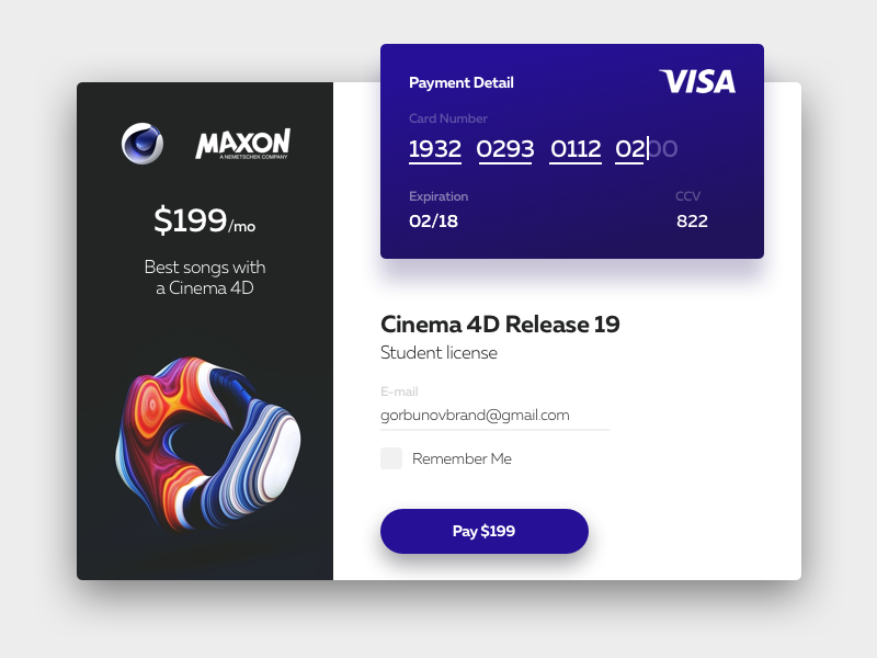 DailyUI (Day 2) Cinema 4D Card Pay by Pavel Gorbunov on Dribbble