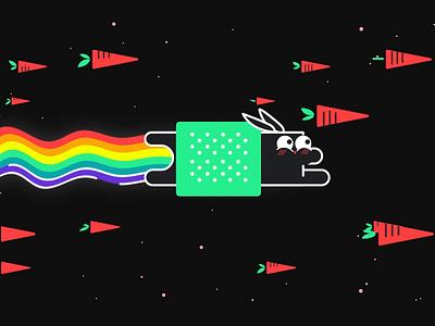 Rainbow Bunny rabbit motion shape character motiondesignschool space rainbow animation