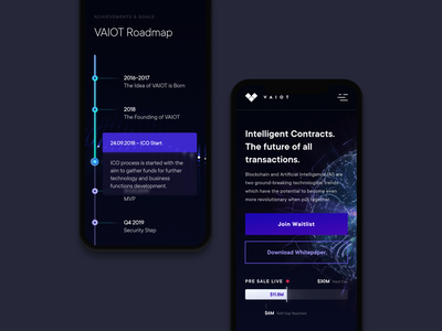 VAIOT // intelligent contracts timeline roadmap motion design mobile sketch ux ui adaptive responsive minimal dark ui clean modern landing page ibm crypto currency crypto ico blockchain