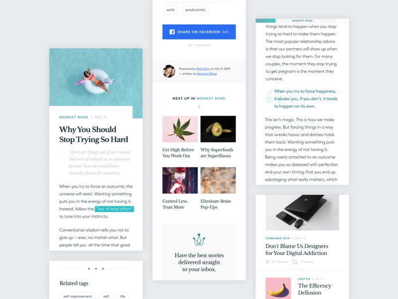 ARCADIA // featured articles medium article page articles library journal reader app mobile first microinteractions figma clean minimal adaptive mobile ux ui