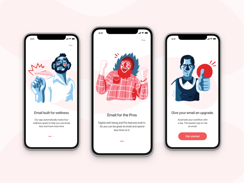 Onboarding concept clean simple walkthrough illustration ios mobile app email design onboarding ui