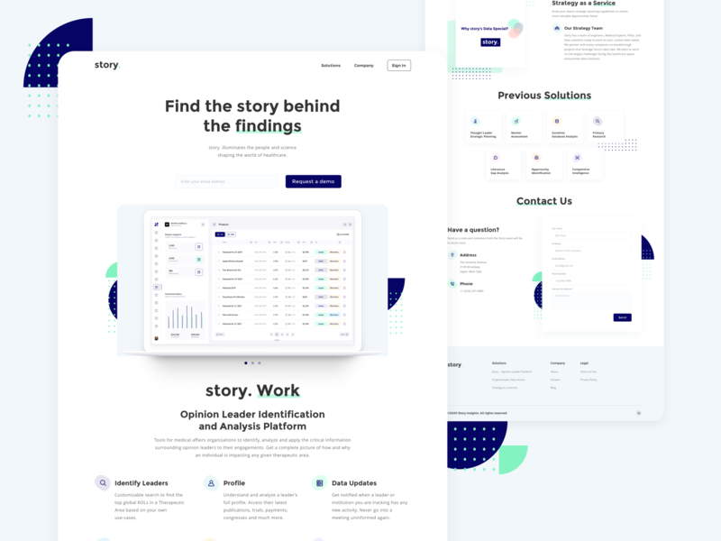 Product page concept for a tech startup startup tech research homepage landing product science data healthcare clean concept ux web design ui