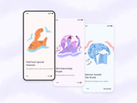 Dating app onboarding concept online screens launch welcome get started simple onboarding dating mobile illustration clean concept ios app design ui