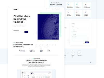 Product page concept for a tech startup data clean ui healthcare homepage landing product research science startup uiux clean white web design website ux concept web design ui