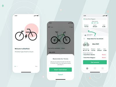 BikePack clean simple logo branding ios app design ux ui