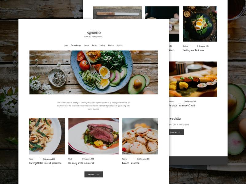 Culinary workshops website food white simple design ux ui workshops culinary website web