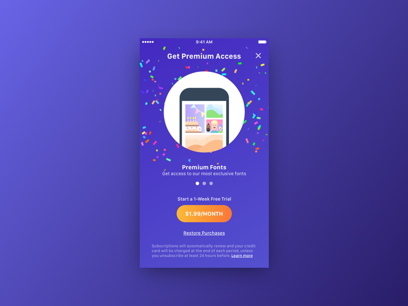 Paywall design ui single ios confetti illustrations fonts colours screen paywall