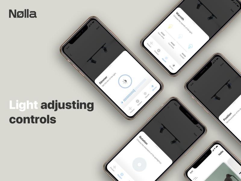 Nolla app controls adjusting lightning smart icons ios app design ui