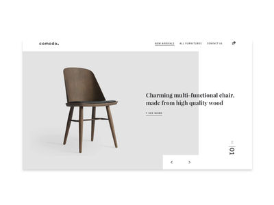 comodo. simple design clean slider design header exploration concept web motion design ui