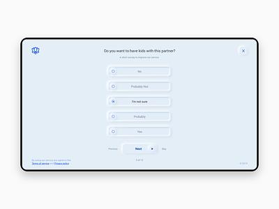 Fertility journey survey concept ux web survey user interface explore tool skeuomorph skeuomorphic skeuomorphism clean app design ui