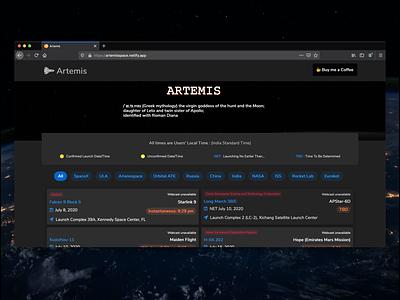 Artemis : Track Rocket Launches space dark ui dark theme icon typography flat web design