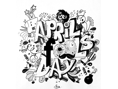 Fool Day Doodle pen and ink monochromatic illustration telegraph fool doodle art doodleart doodle