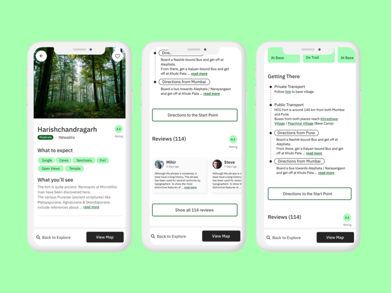 Trailleo - Designing details page for Hiking trails wanderlust figma design app explore green flat ux nature trails hike travel travel app mobile design screens ui