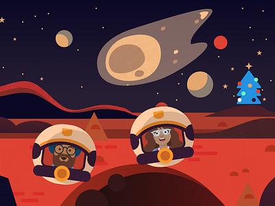 Christmas in Space 🎅 🎁 🦌 ⛄ 🎄 black chrome red astronaut santa figma mars planet stars asteroid spaceship space christmas tree christmas branding vector illustration flat design