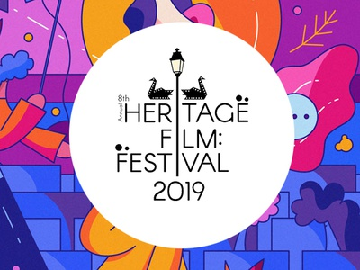 Heritage Film Festival Logo flat design typography logo illustration