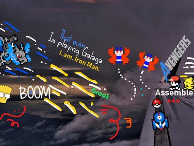 I need to find a Title pixelart pokemon avengers illustration icon web typography design
