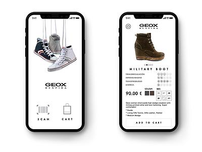 Geox App iphone mobile ux minimal interaction fashion visual ui iphonex e-commerce geox