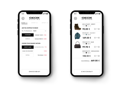 Geox App checkout iphone mobile ux minimal interaction fashion visual ui iphonex e-commerce geox