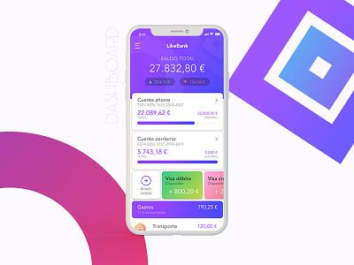 Likebank app dashboard design dashboard banking iphone iphonex interface visual ui uiux app bank