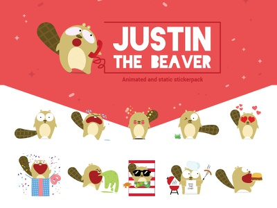 Justin the beaver Sticker pack kids funny design pack illustrator illustration kawaii sticker stickers line character visual