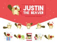 Justin the beaver Sticker pack