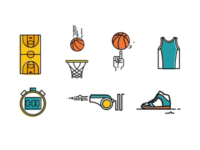 Icon Set for Basketball app nba basket basketball pictograph set pack kit icon icons free direction cloud