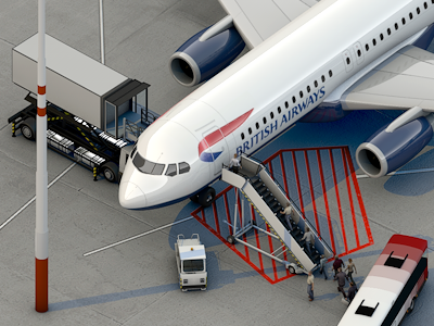 Tiny Airport Scene Teaser airport airplane luggage illustration teaser