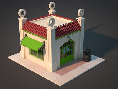 Luigi's Garage garage house icon illustration game design building cars tires