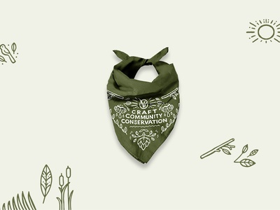 Grassland's Brewery bandana design hopps apperal pattern design illustration bandana design bandana