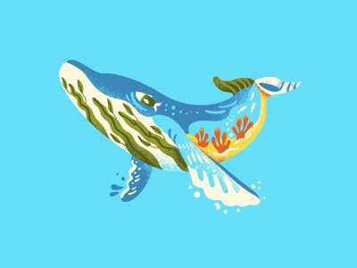 Shapes of Nature 2 of 4 enviromental vector art whale illustration ocean illustration whale