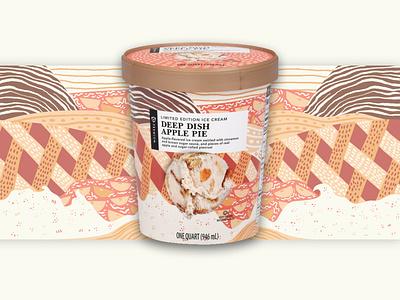 Publix Apple Pie Ice cream label illustration deep dish apple pie apple pie pattern design packaging label design ice cream