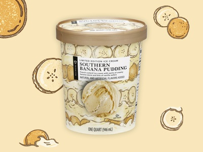 Publix banana pudding ice cream packaging food illustration illustration banana pudding