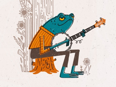 Country Frog blue grass banjo illustration toad frog