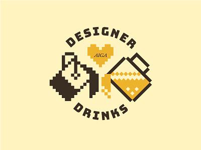 Designer Drinks Graphic designer drinks beer paint bucket illustration badge icon design graphic