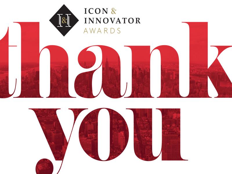 Cornell Icon & Innovator Awards logo design typography art ad design