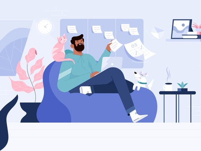 Remote Work, Geekbot. branding dog design dribbble characterdesign characters illustration character