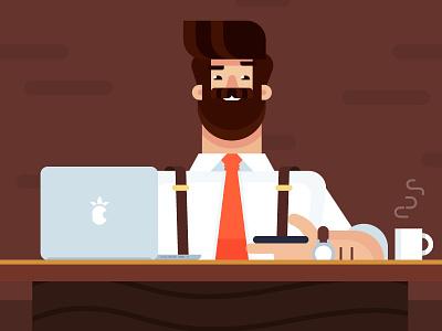 Office executive character minimal flat design illustration characters office characterflat