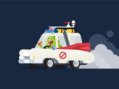 Ghostbusters slimer car character illustration slimer halloween ghostbusters