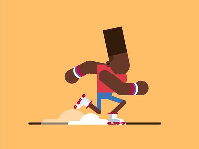 Roller skating fume dribbble illustration character skating roller