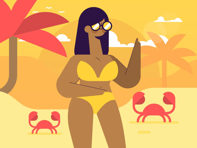 Girl on the beach character sunset trees palm crab girl beach woman