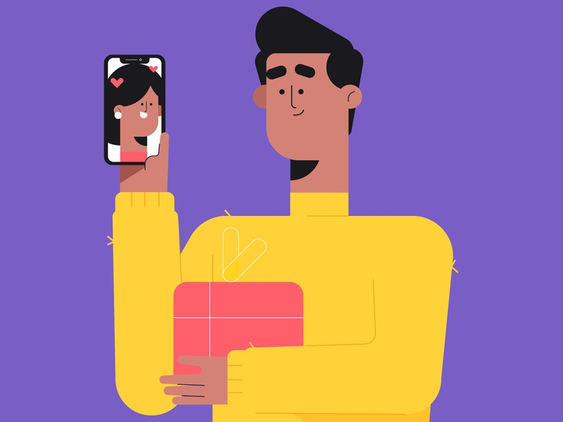 Love gift video call phone love sketch dribbble characters illustration character